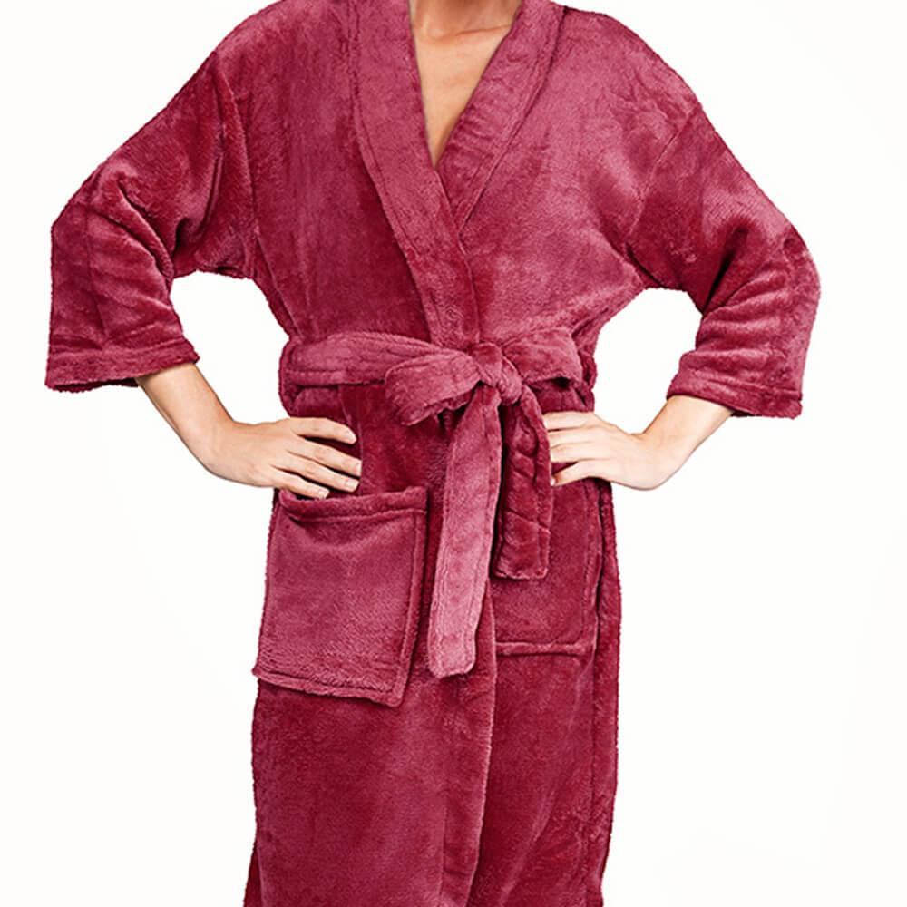 Roupão Kimono Aveludado Cereja