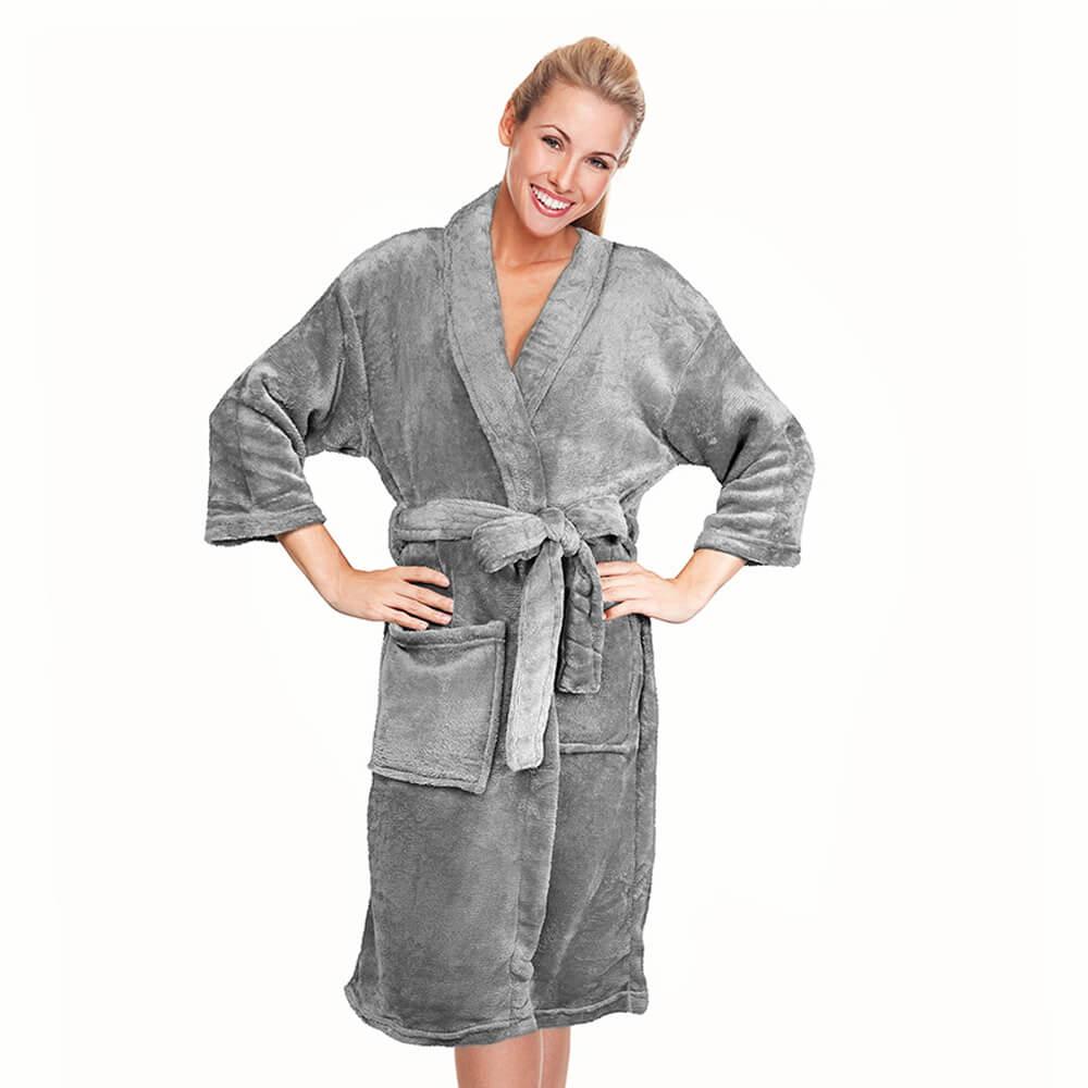 Roupão Kimono Aveludado Cinza