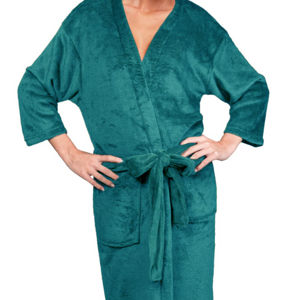 Roupão Kimono Aveludado Confort Azul Petróleo