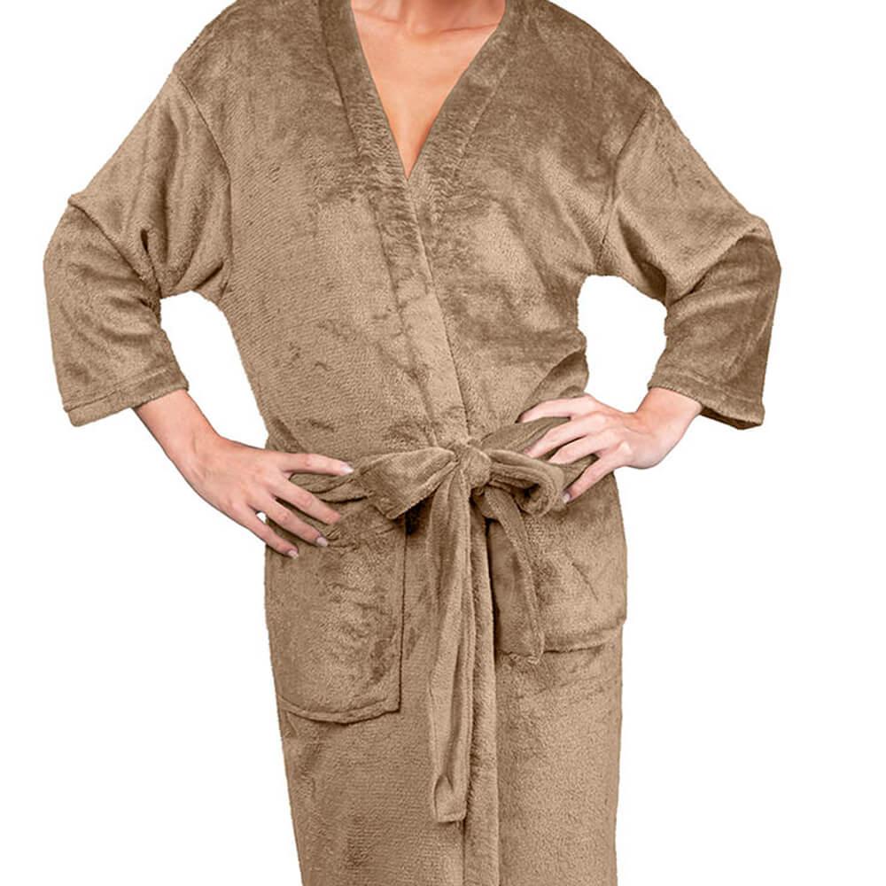 Roupão Kimono Aveludado Confort Bege