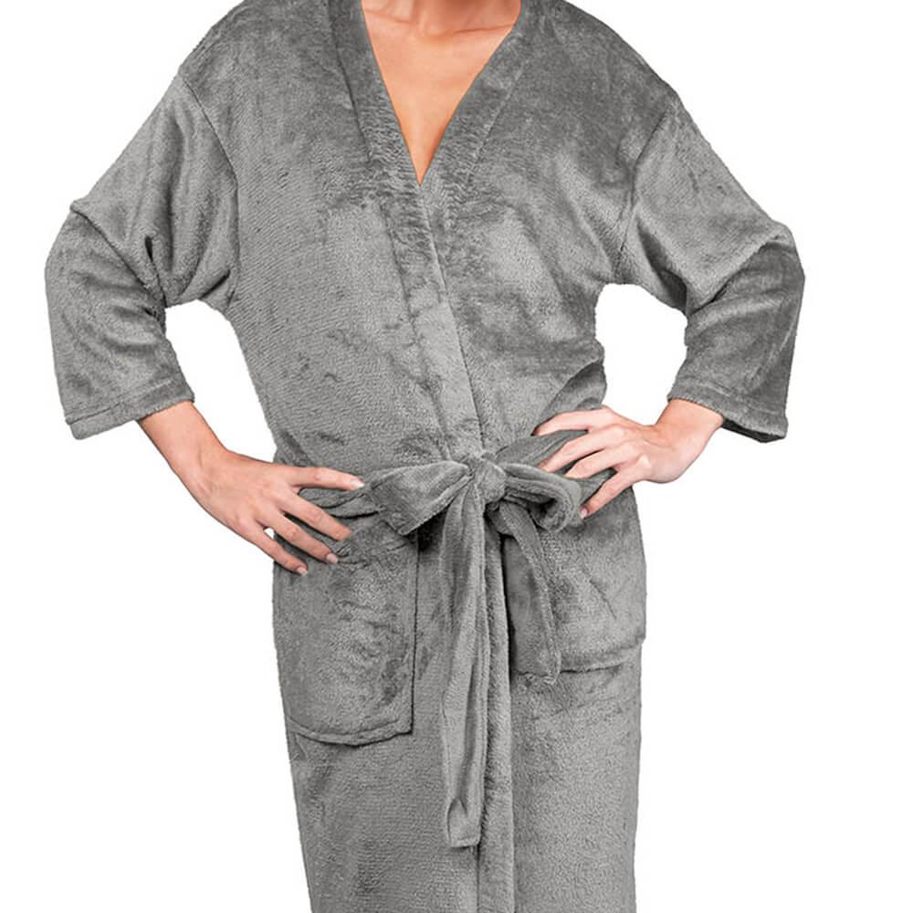 Roupão Kimono Aveludado Confort Cinza