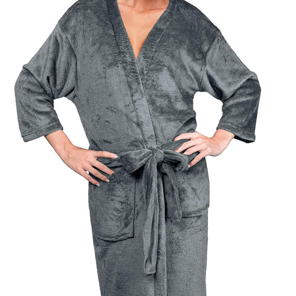Roupão Kimono Aveludado Confort Grafite