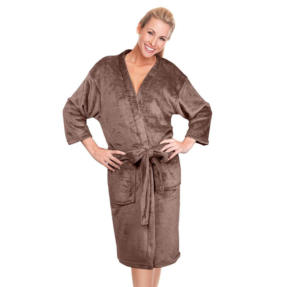 Roupão Kimono Aveludado Confort Marrom