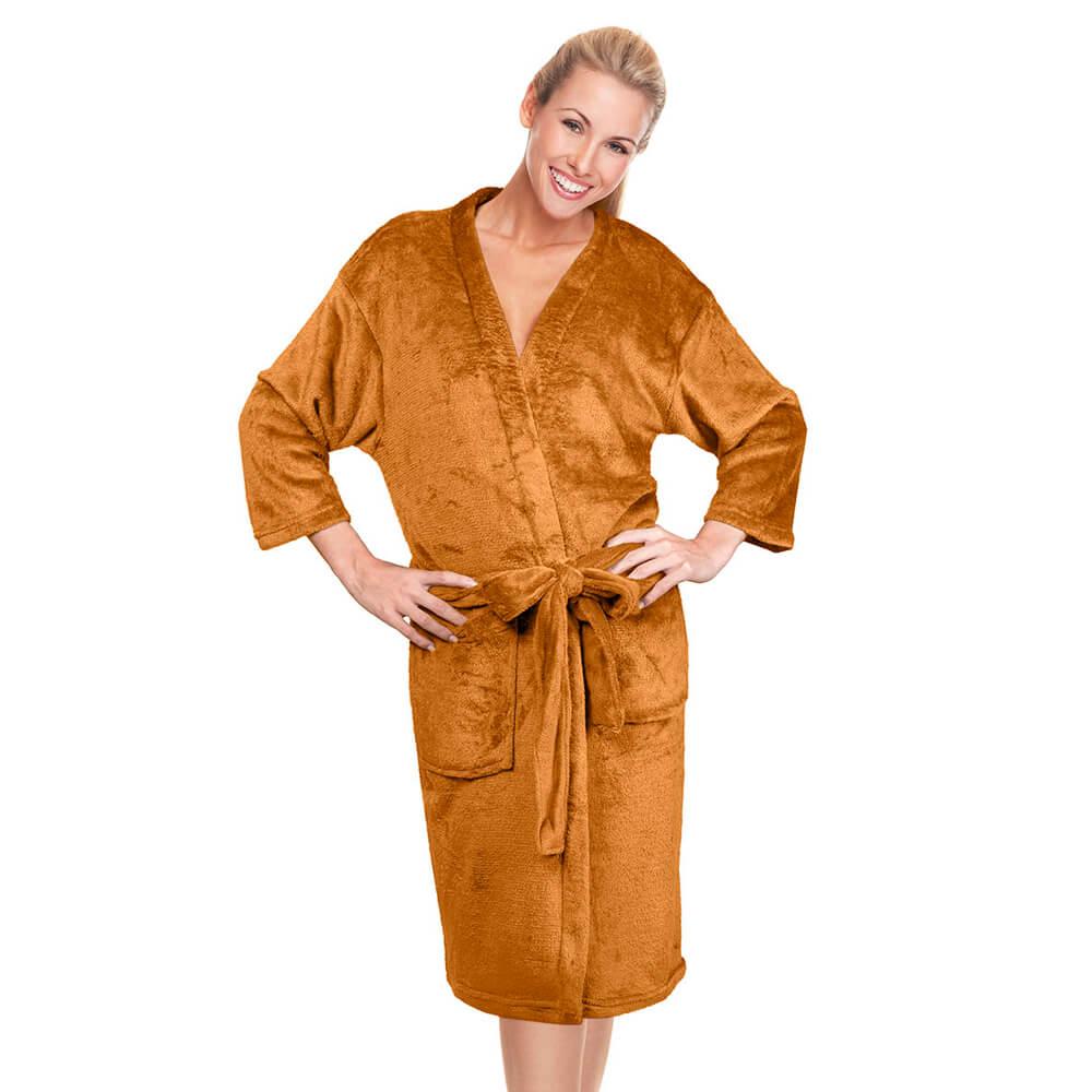 Roupão Kimono Aveludado Confort Mostarda