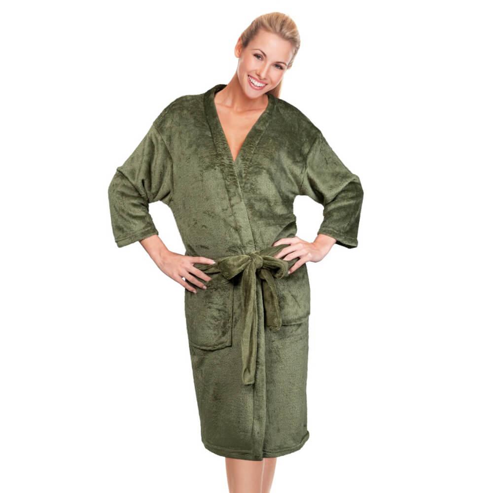 Roupão Kimono Aveludado Confort Verde
