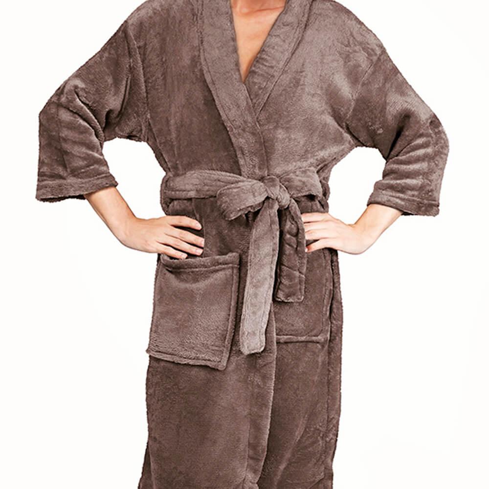 Roupão Kimono Aveludado Marrom