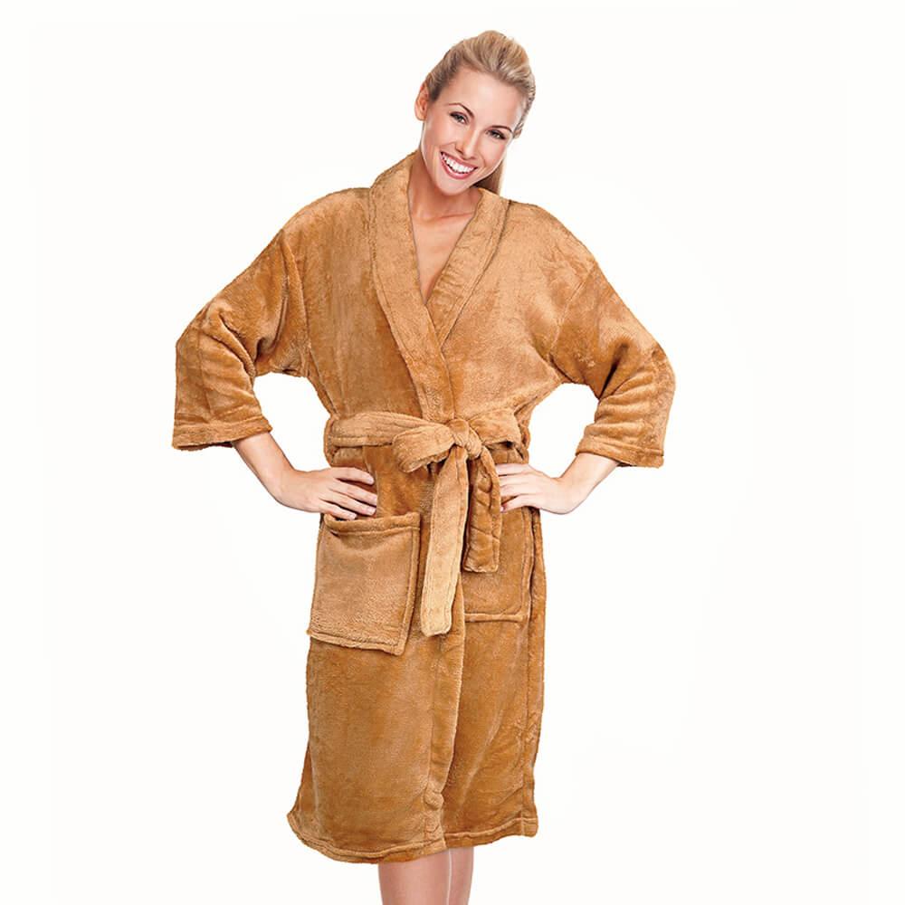 Roupão Kimono Aveludado Mostarda