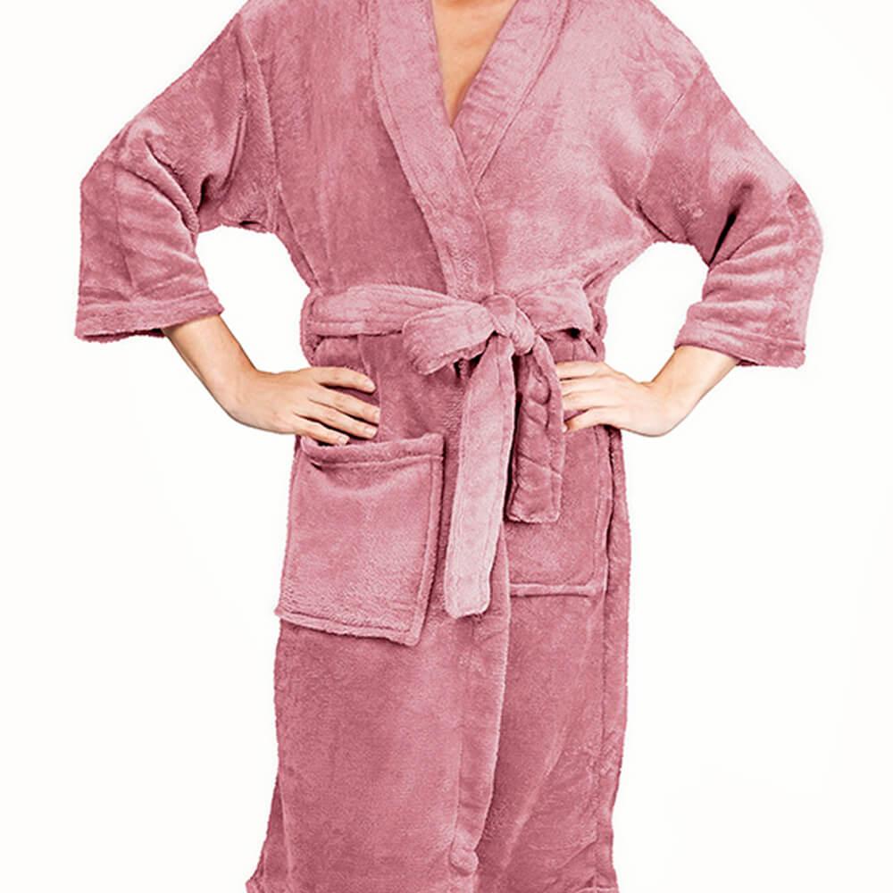 Roupão Kimono Aveludado Rosa