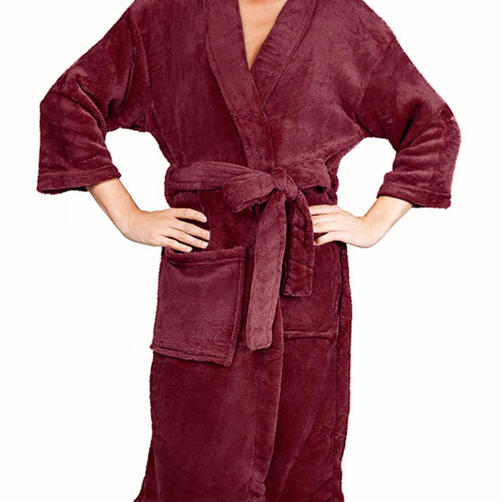 Roupão Kimono Aveludado Vinho