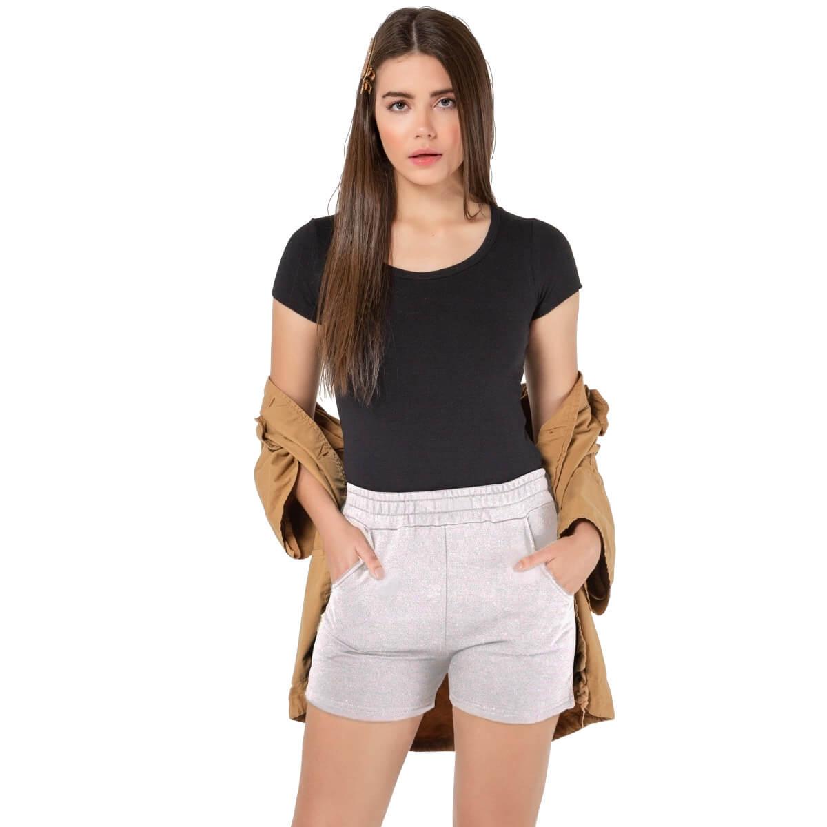 Shorts Feminino Moletom Premium Cinza