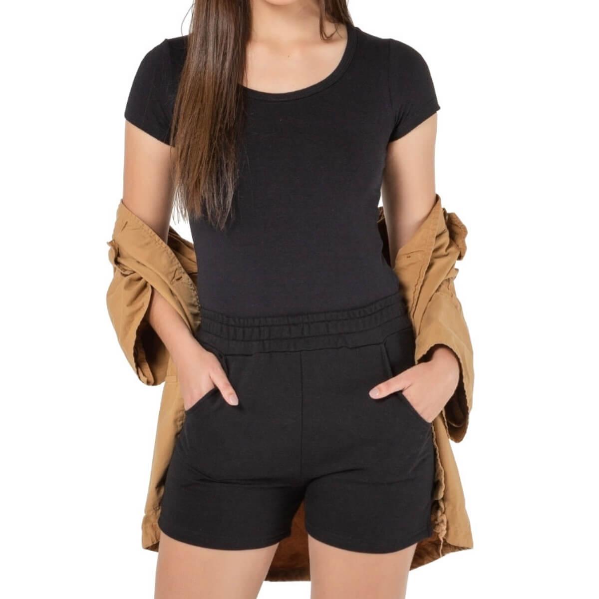 Shorts Feminino Moletom Premium Preto