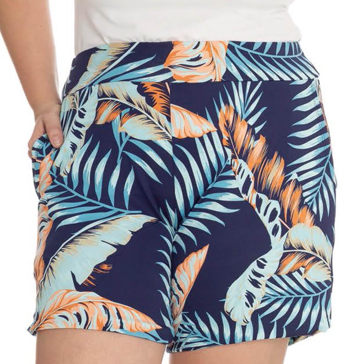 Shorts Feminino Plus Size Cetim Estampado Danny