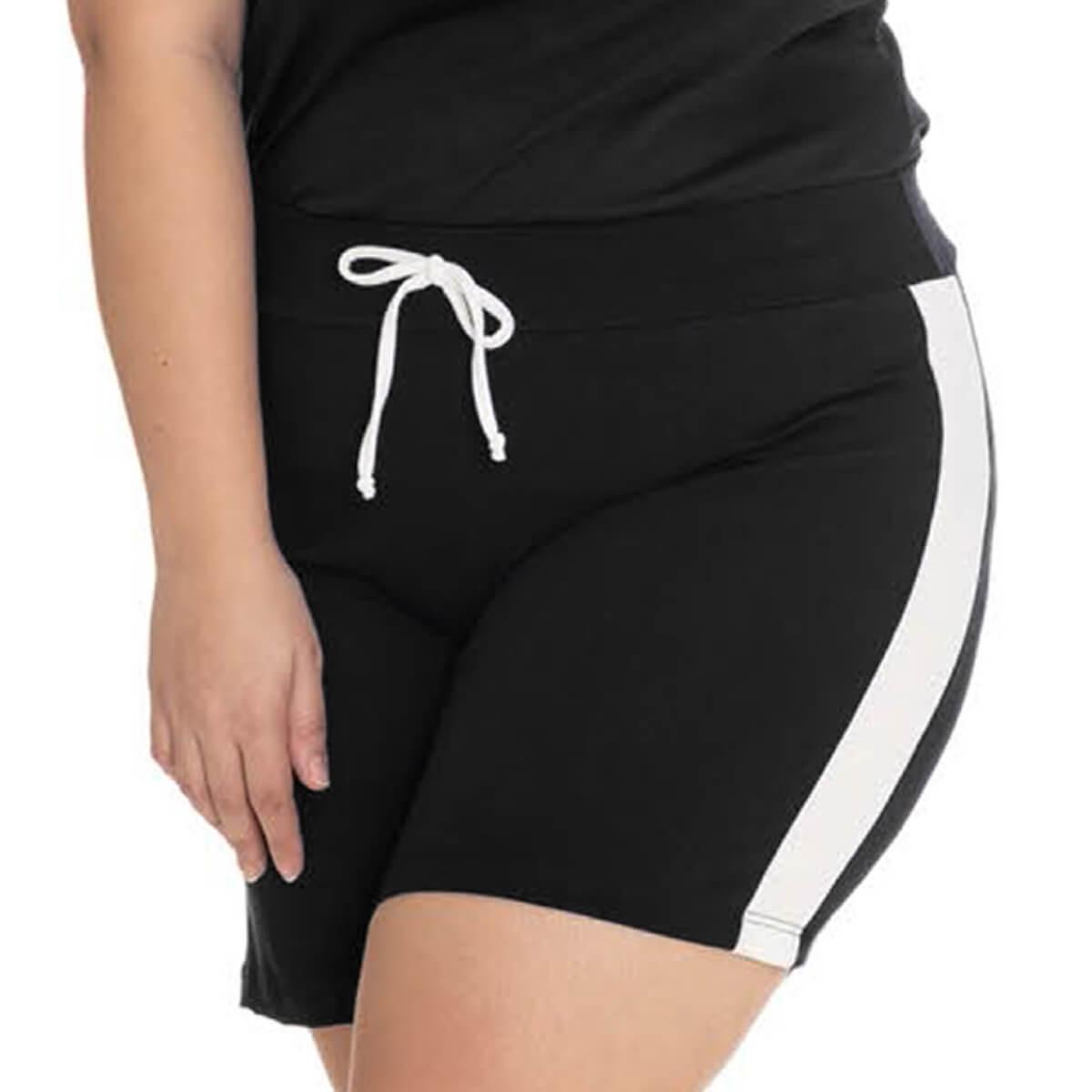 Shorts Feminino Plus Size Viscolycra Casual com Recorte Branco