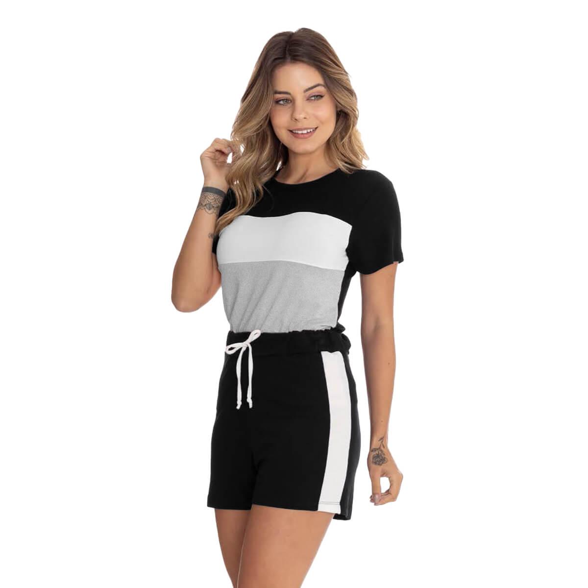 Shorts Feminino Viscolycra Casual com Recorte Branco