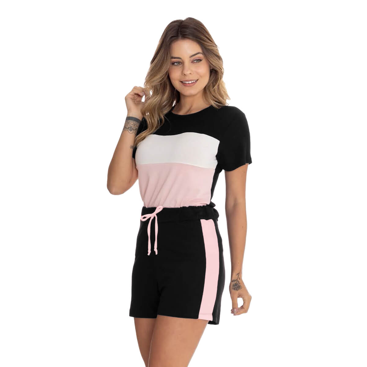 Shorts Feminino Viscolycra Casual com Recorte Rosa