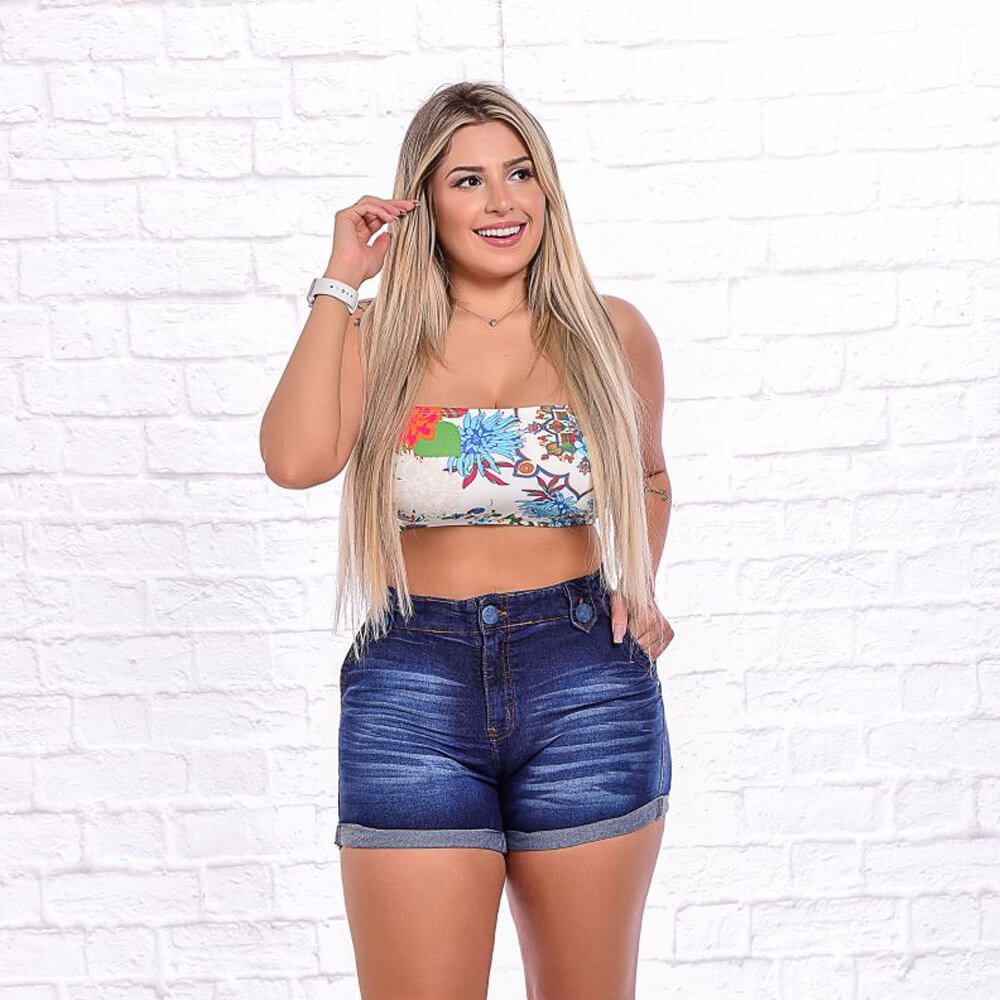 Shorts Jeans Feminino Estonado Bolso Faca