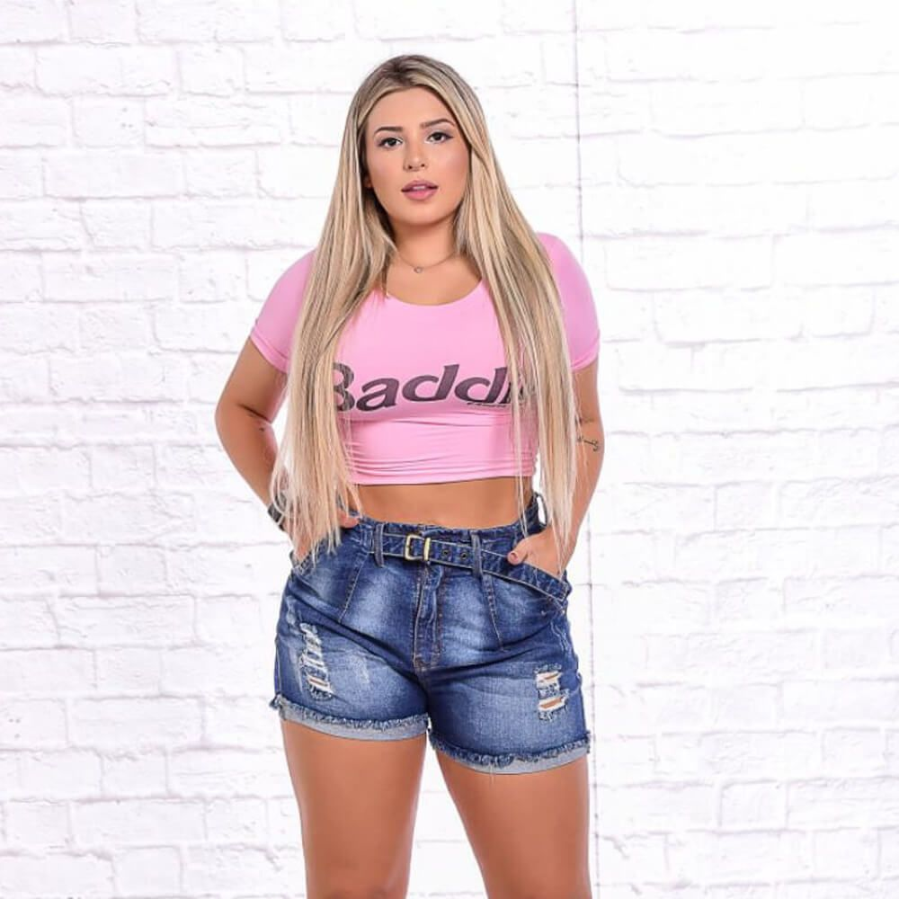 Shorts Jeans Feminino Mom com Cinta Destroyed