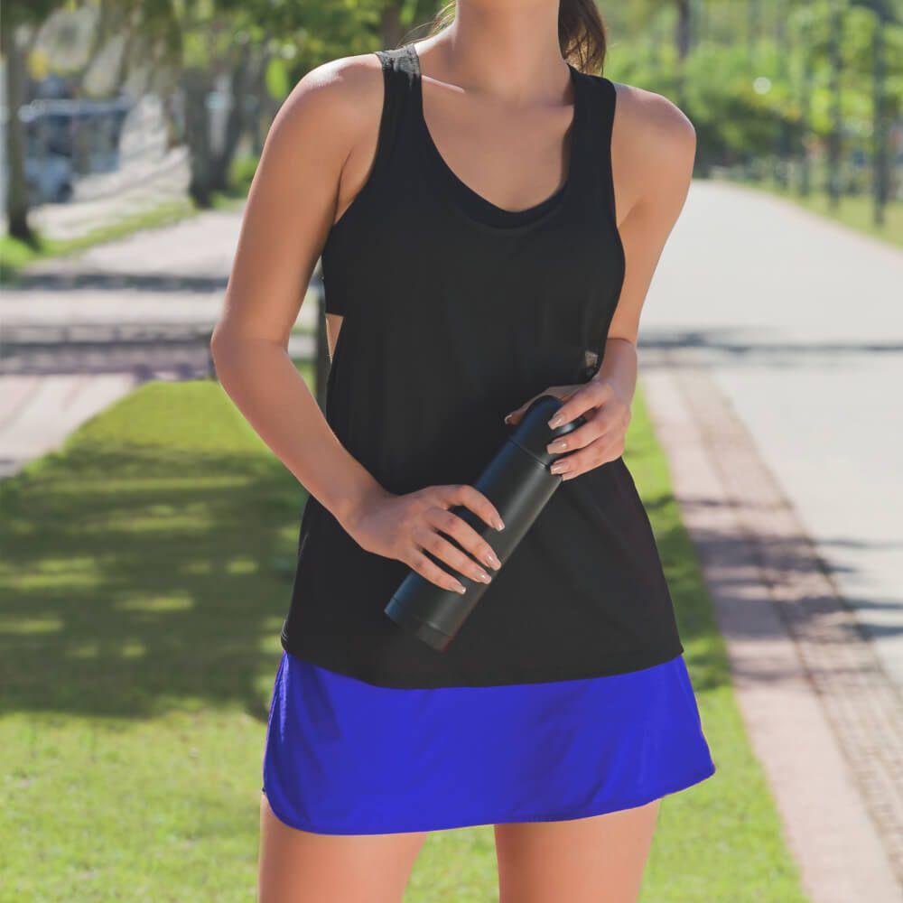 Shorts Saia Feminina Suplex Fit Azul
