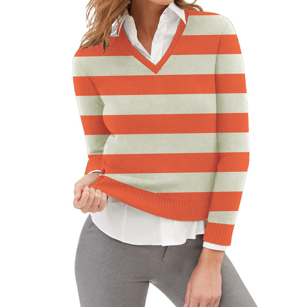 Suéter Feminino Tricot Listrado Coral