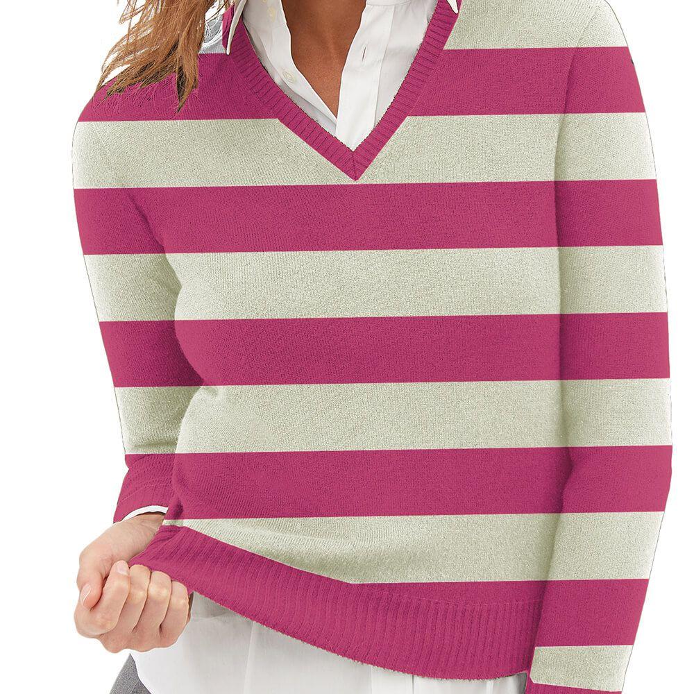 Suéter Feminino Tricot Listrado Pink