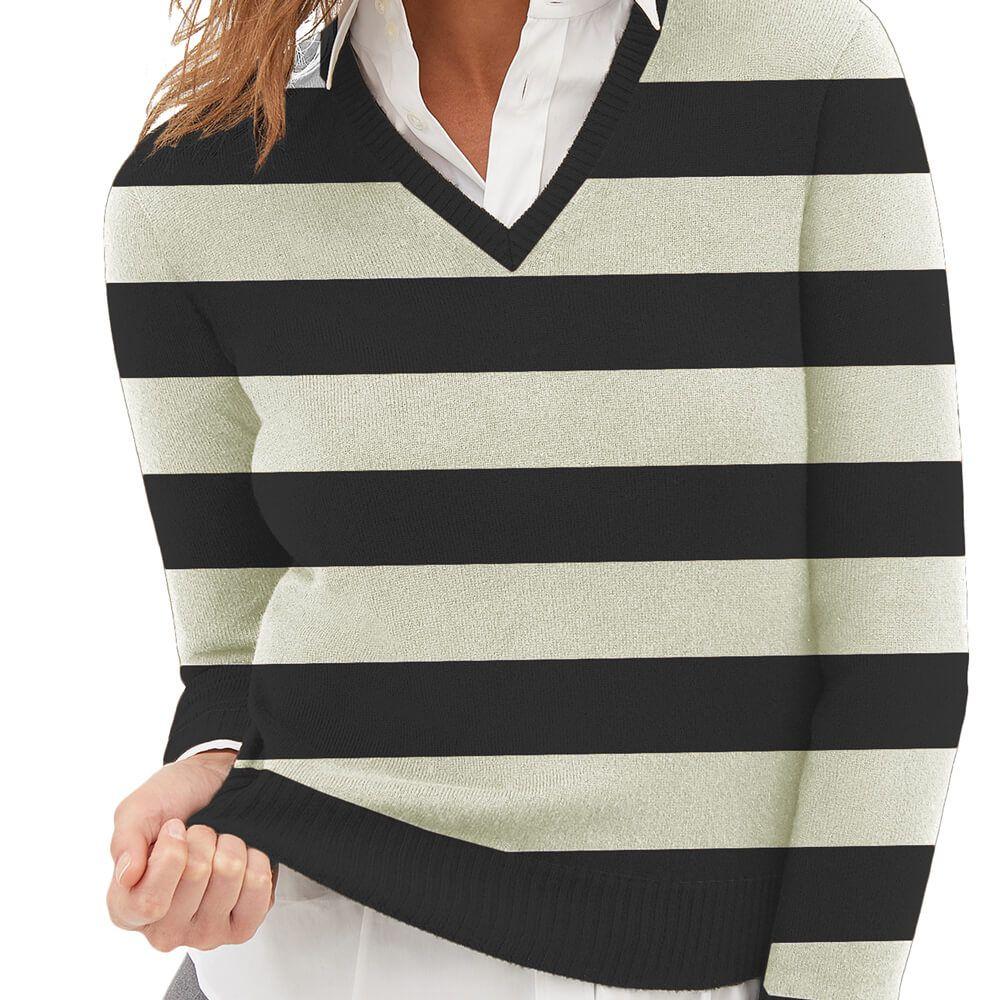 Suéter Feminino Tricot Listrado Preto