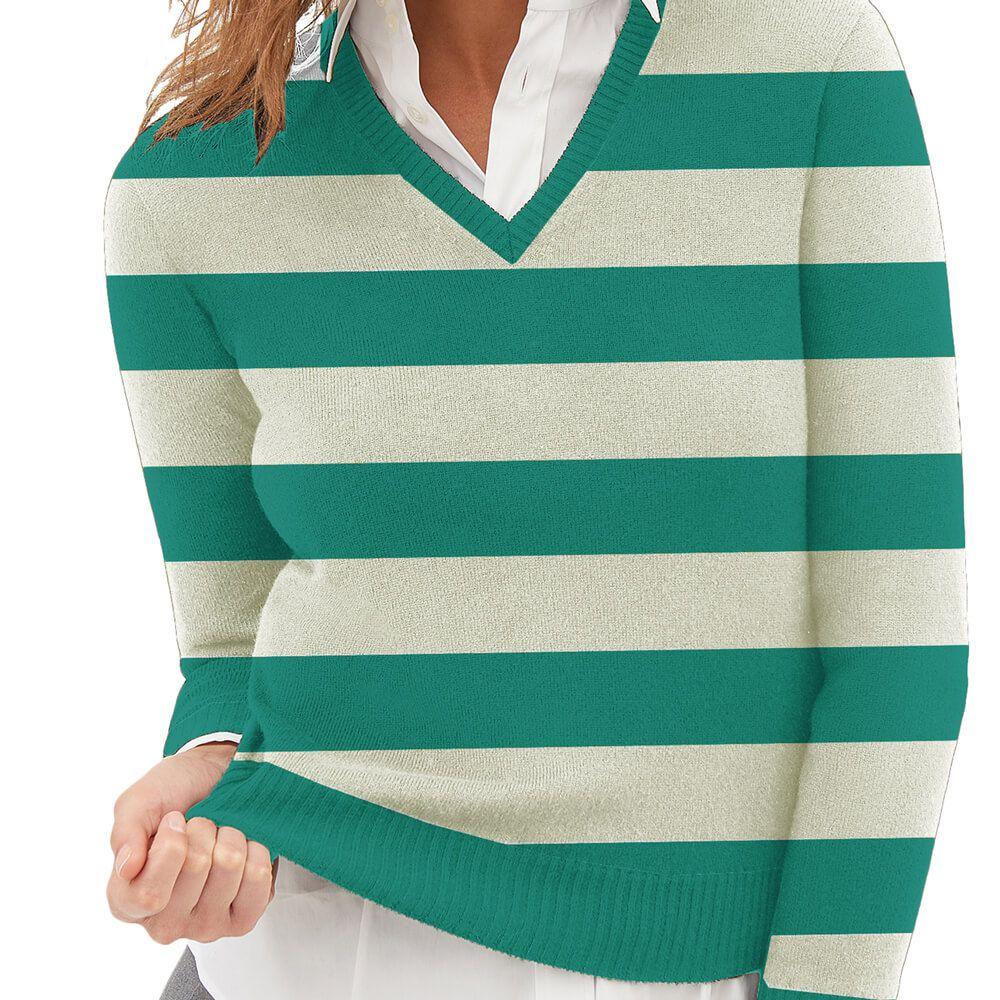 Suéter Feminino Tricot Listrado Verde