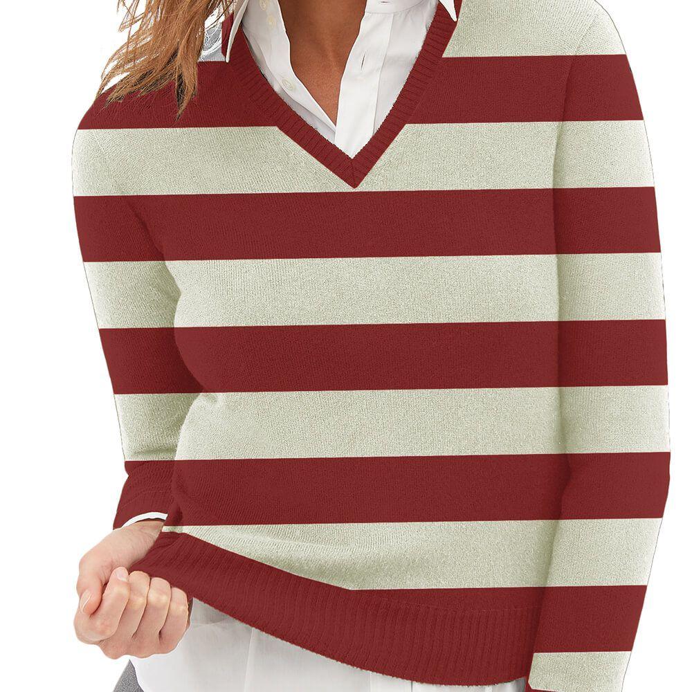 Suéter Feminino Tricot Listrado Vinho