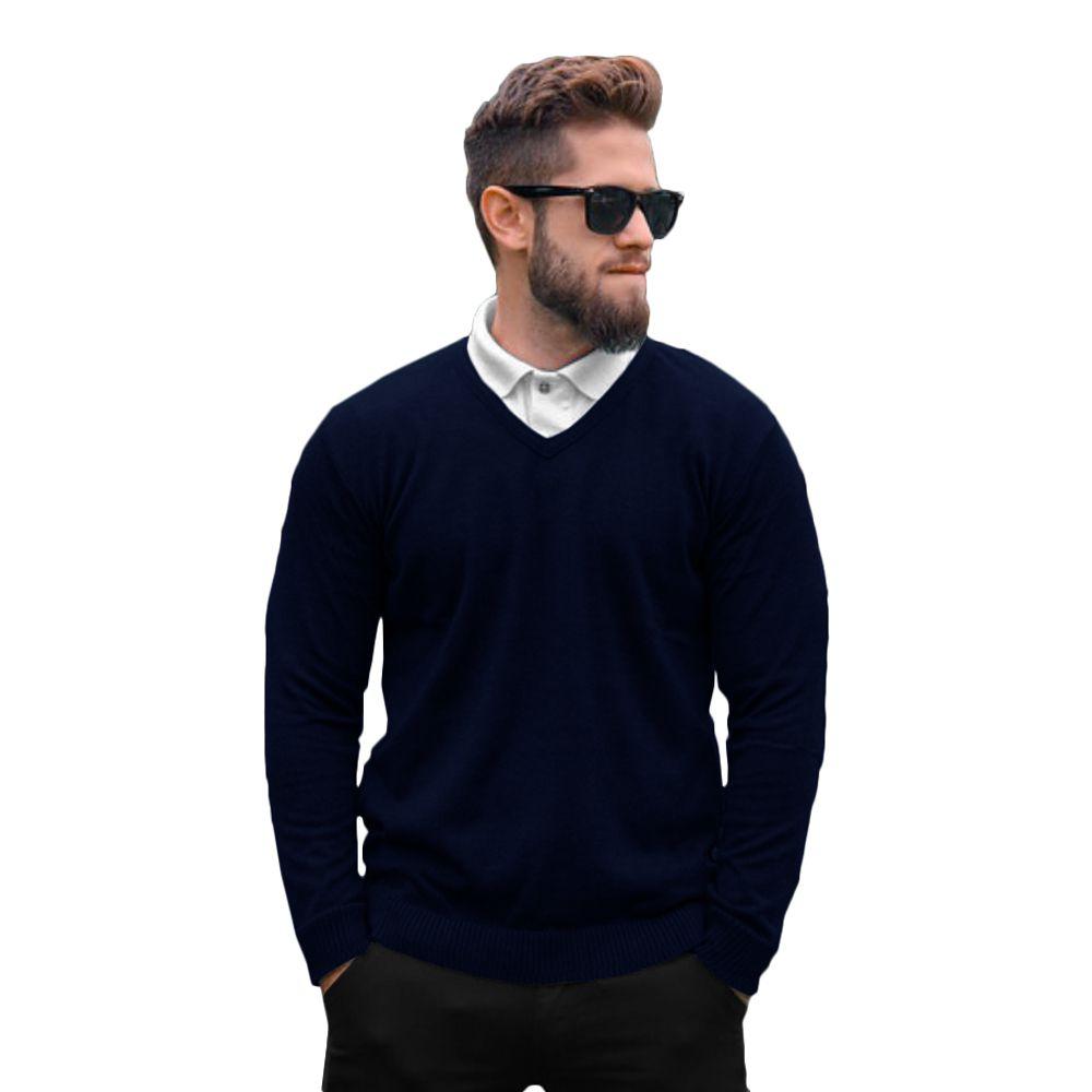 Suéter Masculino Tricot Básico Marinho