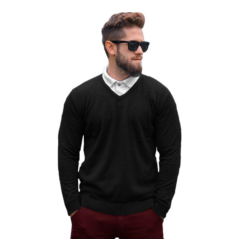 Suéter Masculino Tricot Básico Preto