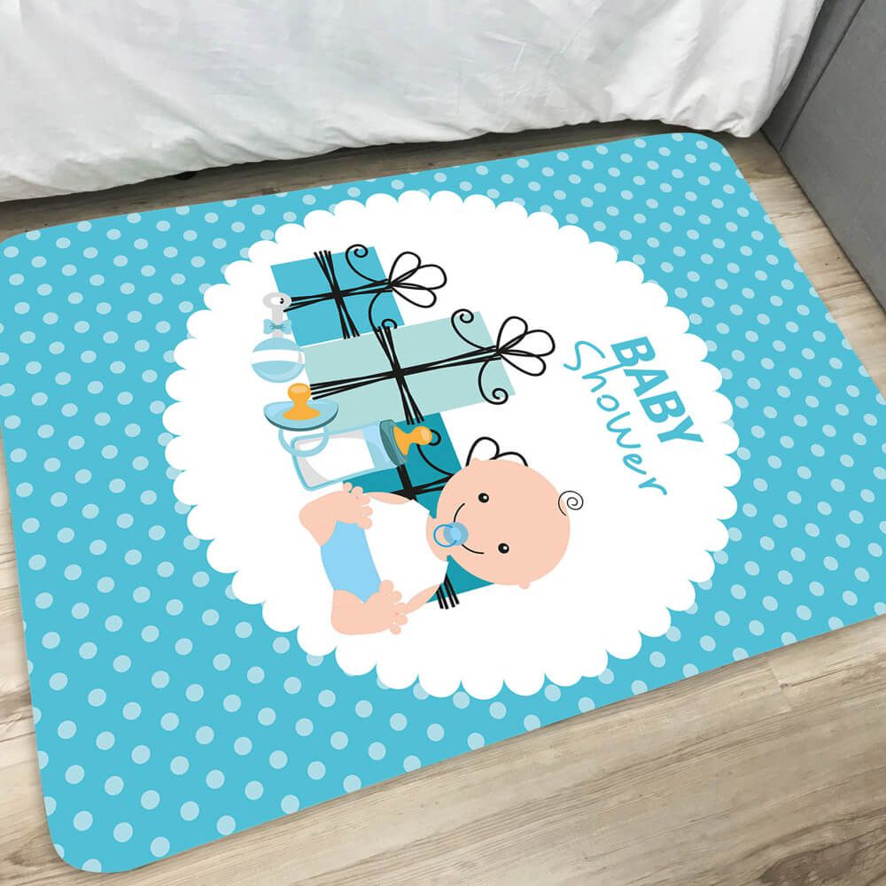 Tapete Infantil de Quarto Baby Shower Azul