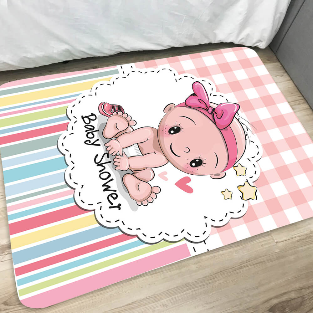 Tapete Infantil de Quarto Baby Shower Rosa