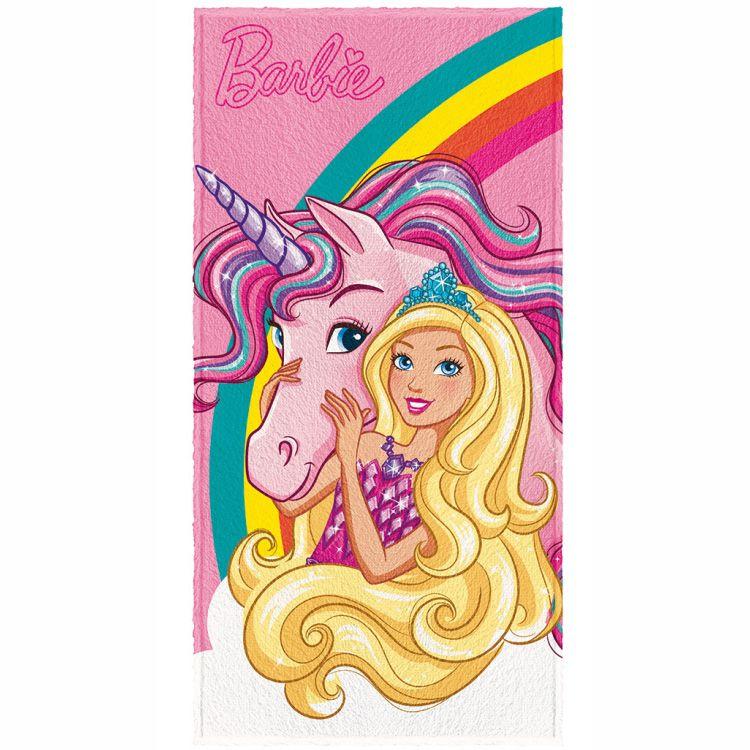 Toalha de Banho Infantil Barbie Unicórnio