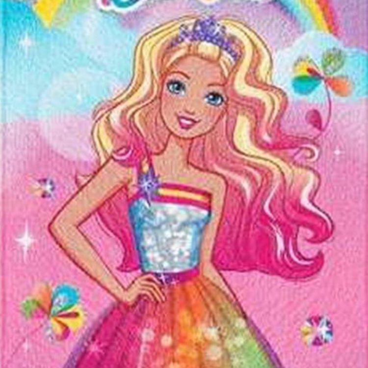 Toalha de Banho Infantil Barbie Arco Íris Felpuda