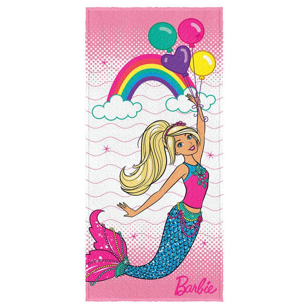 Toalha de Banho Infantil Felpuda Barbie Reinos Mágicos Balloon