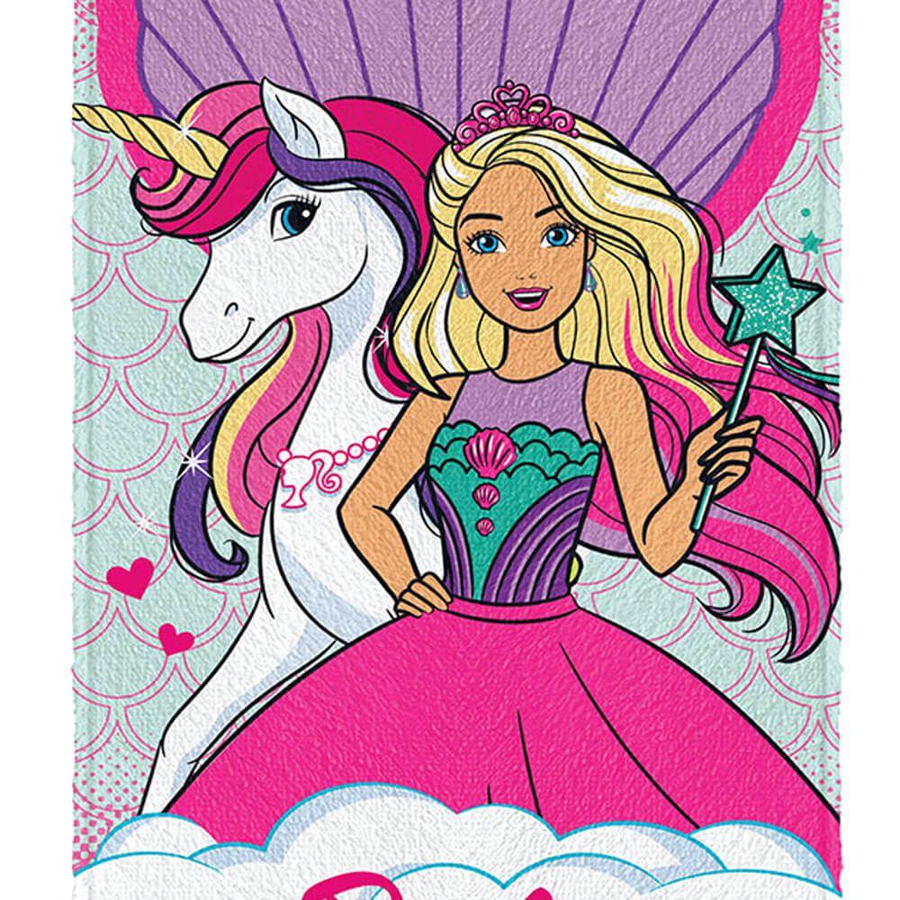 Toalha de Banho Infantil Felpuda Barbie Reinos Mágicos Unicórnio