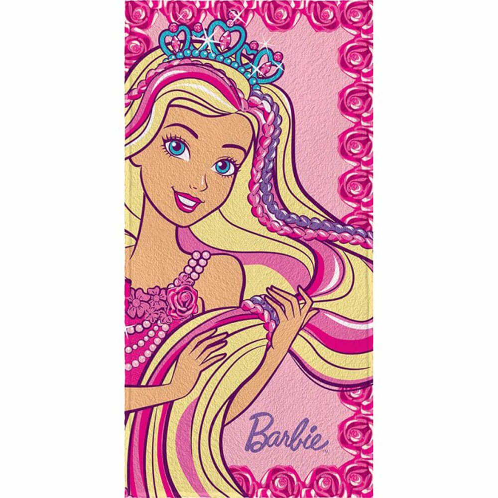 Toalha de Banho Infantil Barbie Roses