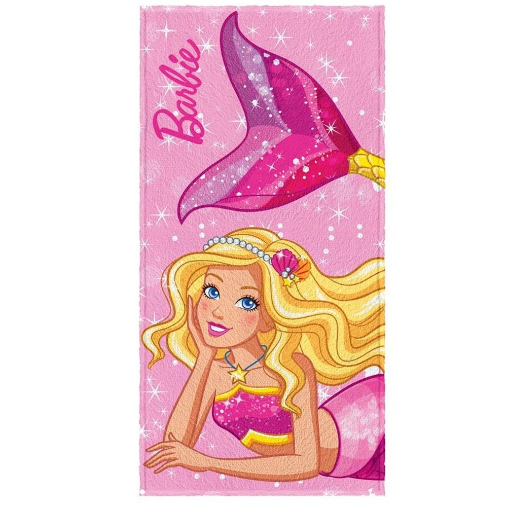 Toalha de Banho Infantil Barbie Sereia Rosa