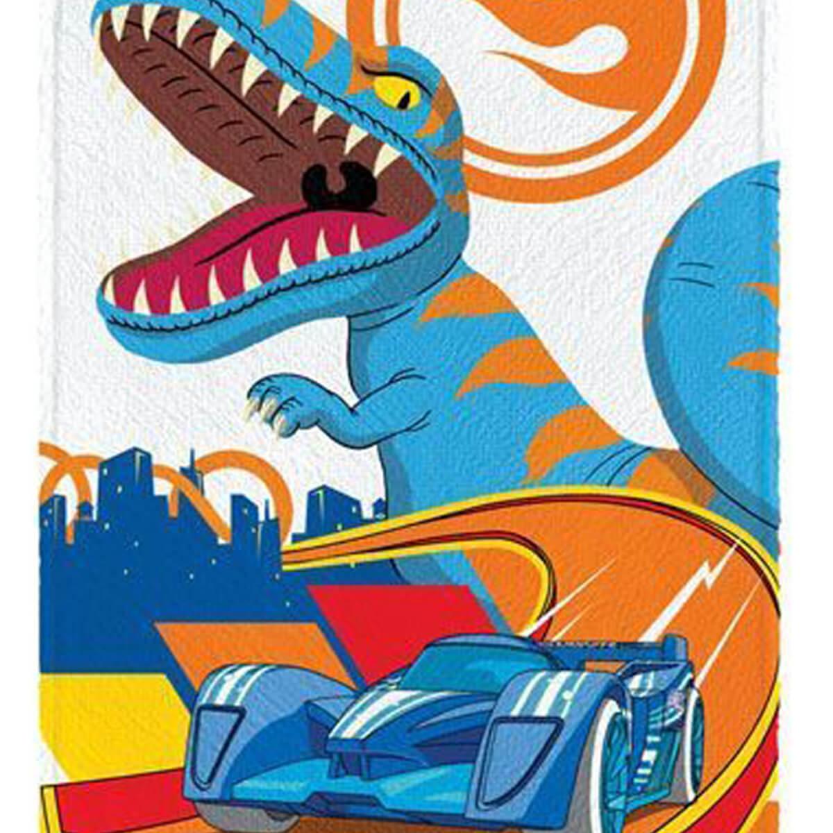 Toalha de Banho Infantil Felpuda Hot Wheels T-Rex Fury