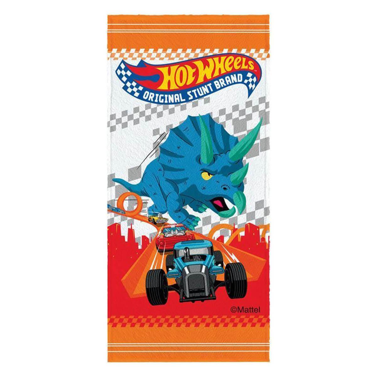 Toalha de Banho Infantil Felpuda Hot Wheels Tryceratops