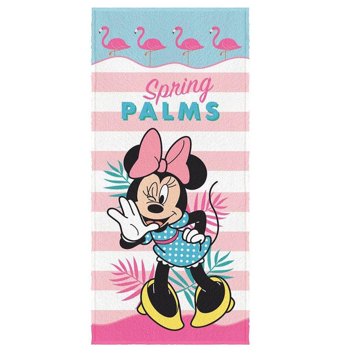 Toalha de Banho Infantil Felpuda Minnie Flamingo