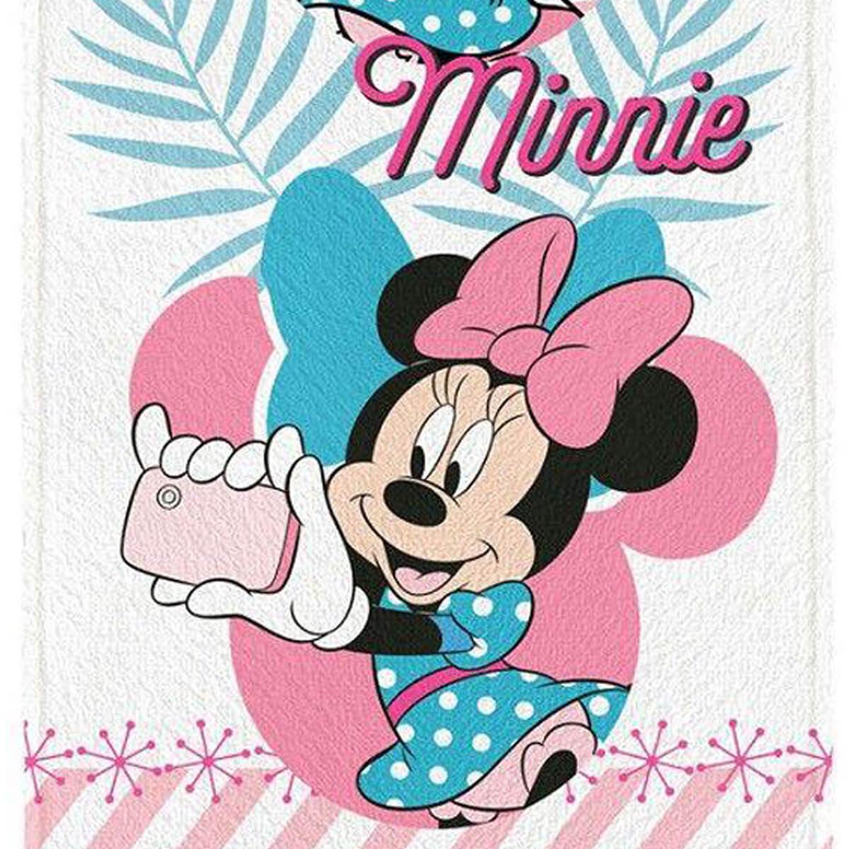 Toalha de Banho Infantil Felpuda Minnie Selfie