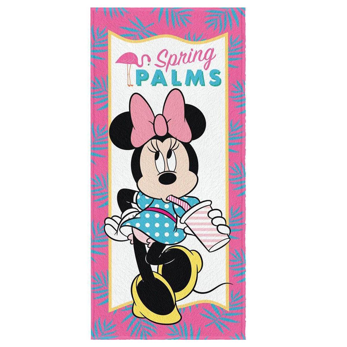 Toalha de Banho Infantil Felpuda Minnie Spring Palms