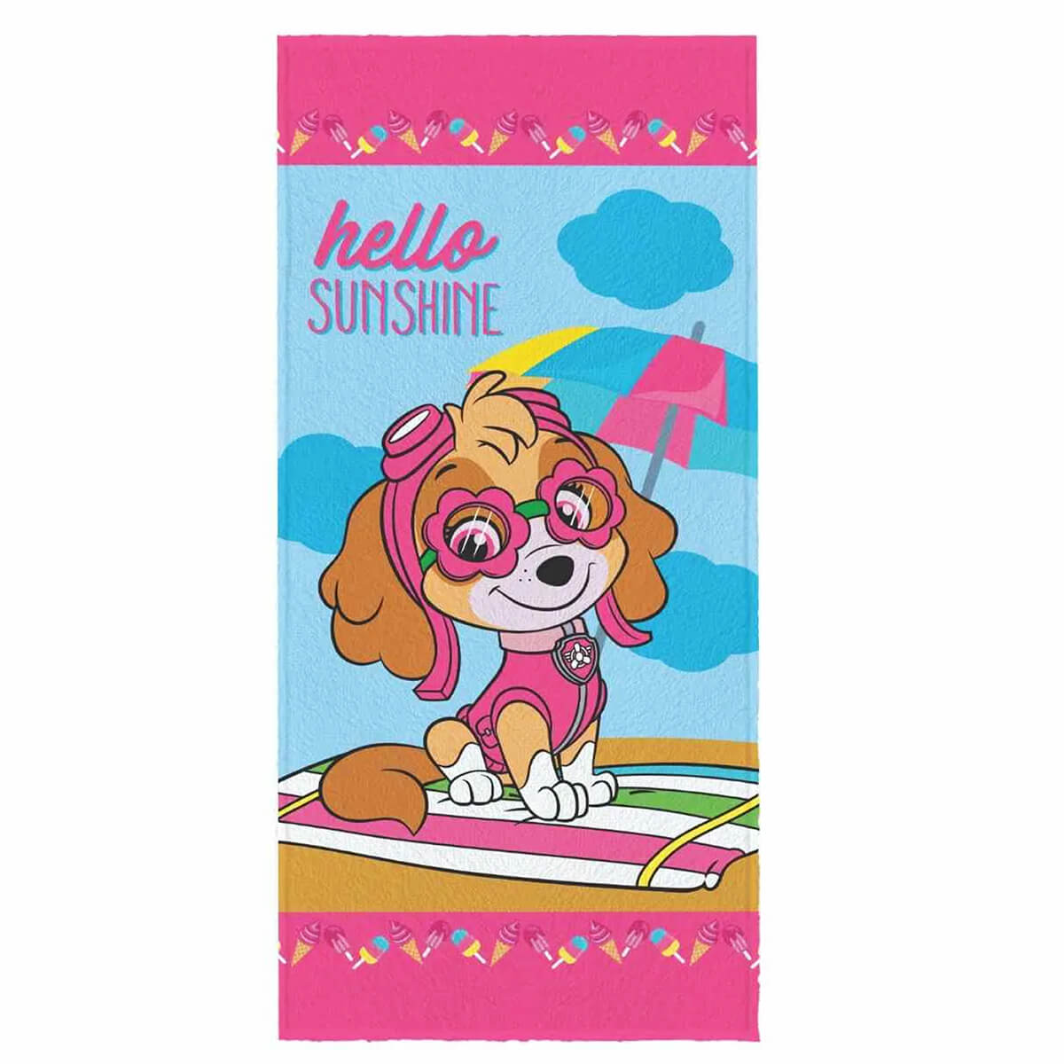 Toalha de Banho Infantil Felpuda Patrulha Canina Hello Sunshine
