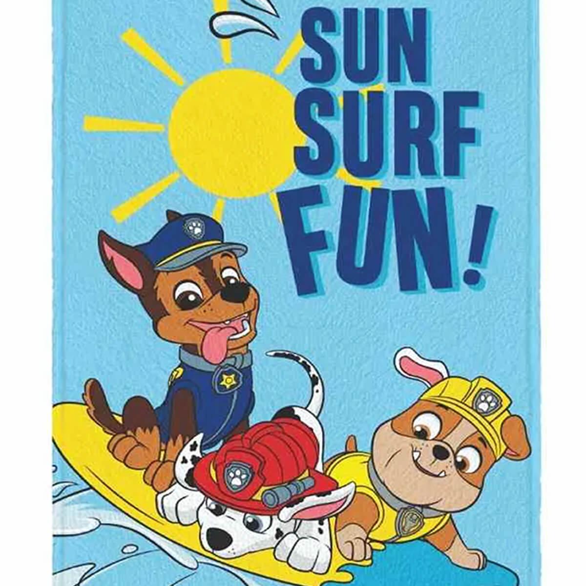 Toalha de Banho Infantil Felpuda Patrulha Canina Sun Surf Fun