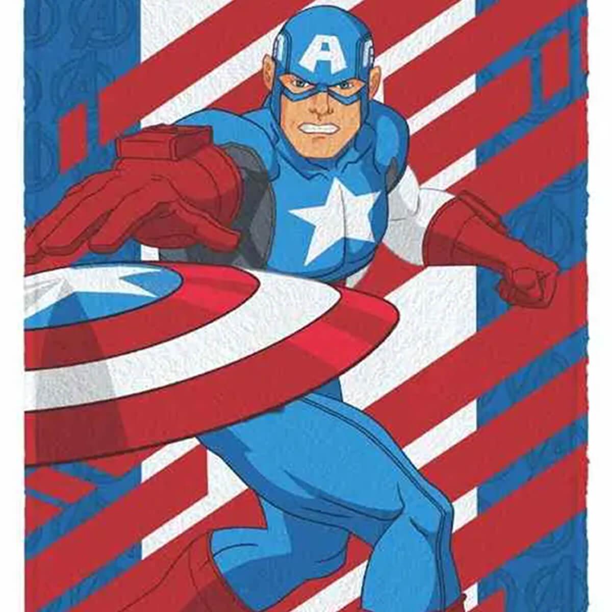 Toalha de Banho Infantil Felpuda Vingadores Captain America