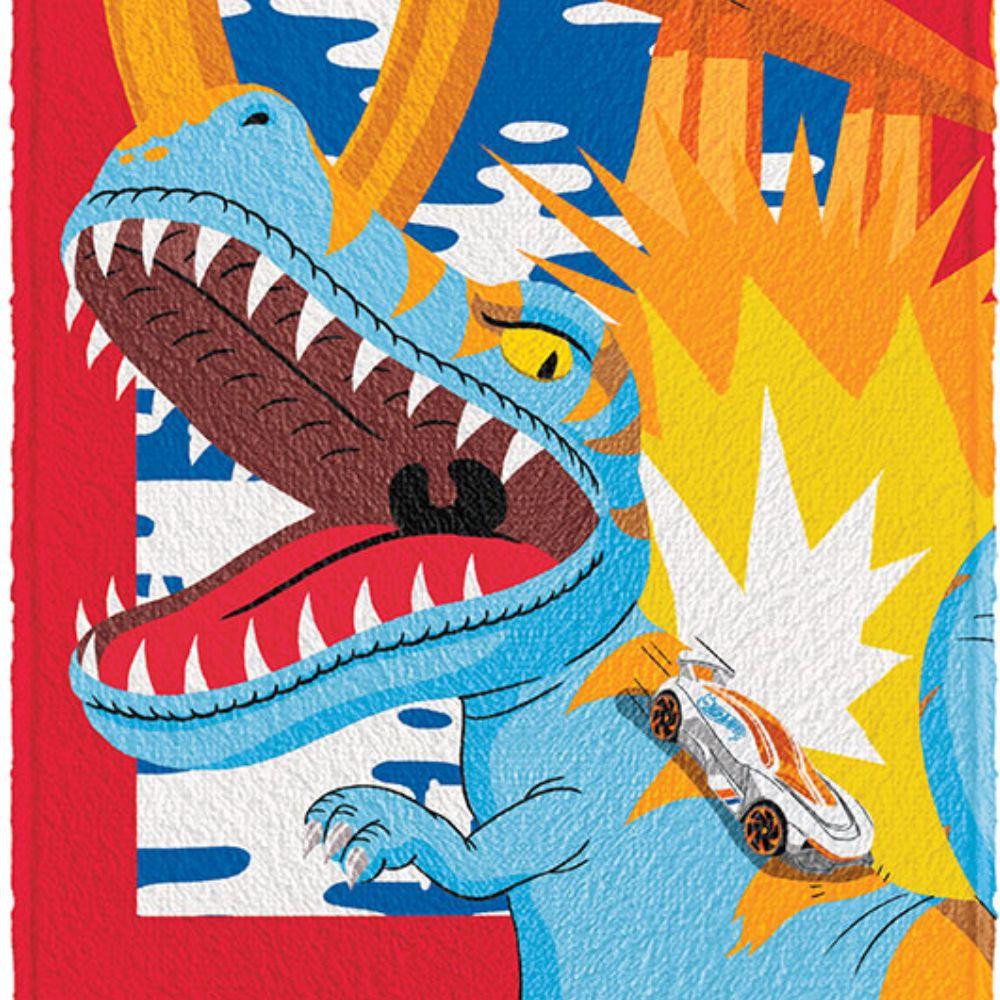 Toalha de Banho Infantil Felpuda Hot Wheels T-Rex Race