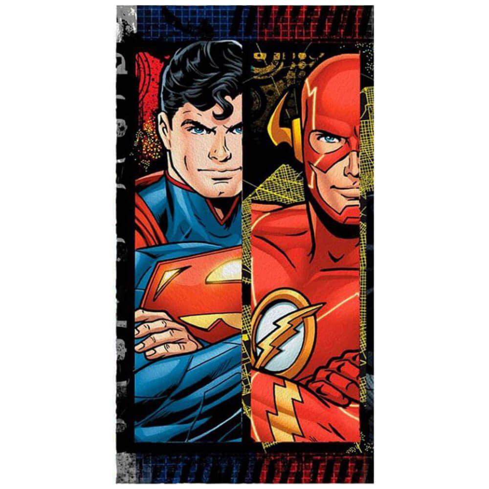 Toalha de Banho Infantil Felpuda Liga da Justiça Superman e Flash