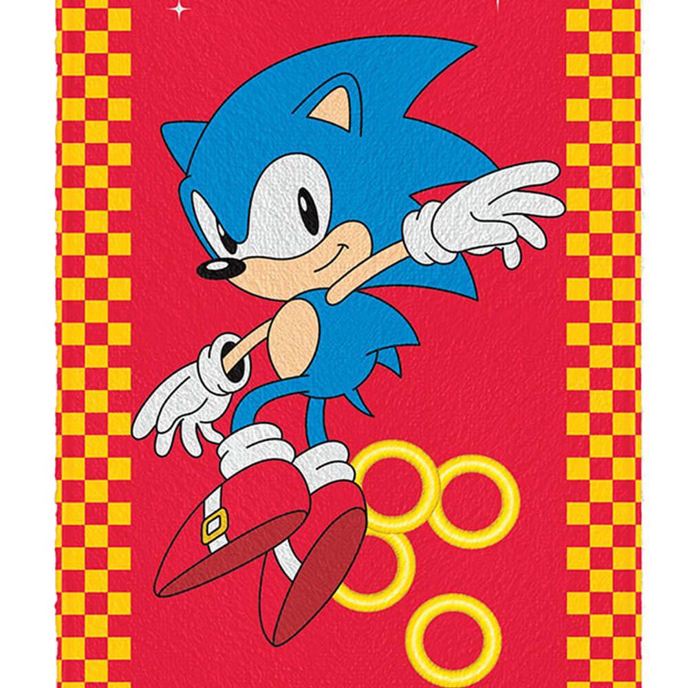 Toalha de Banho Infantil Felpuda Sonic Rings