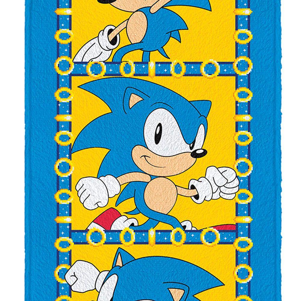 Toalha de Banho Infantil Felpuda Sonic Rush