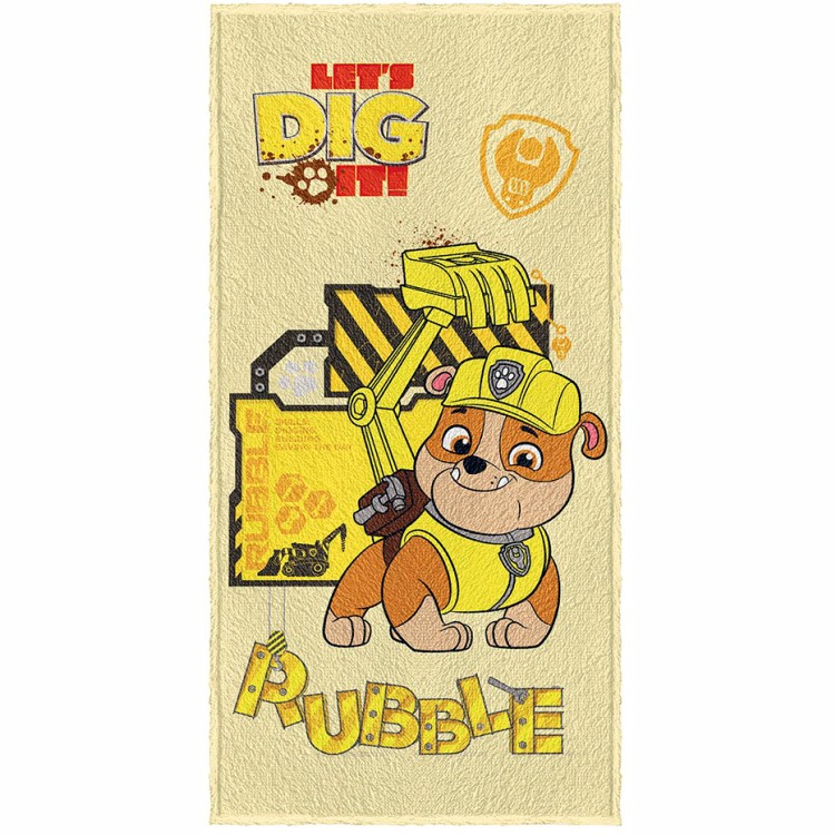 Toalha de Banho Infantil Patrulha Canina Rubble Felpuda